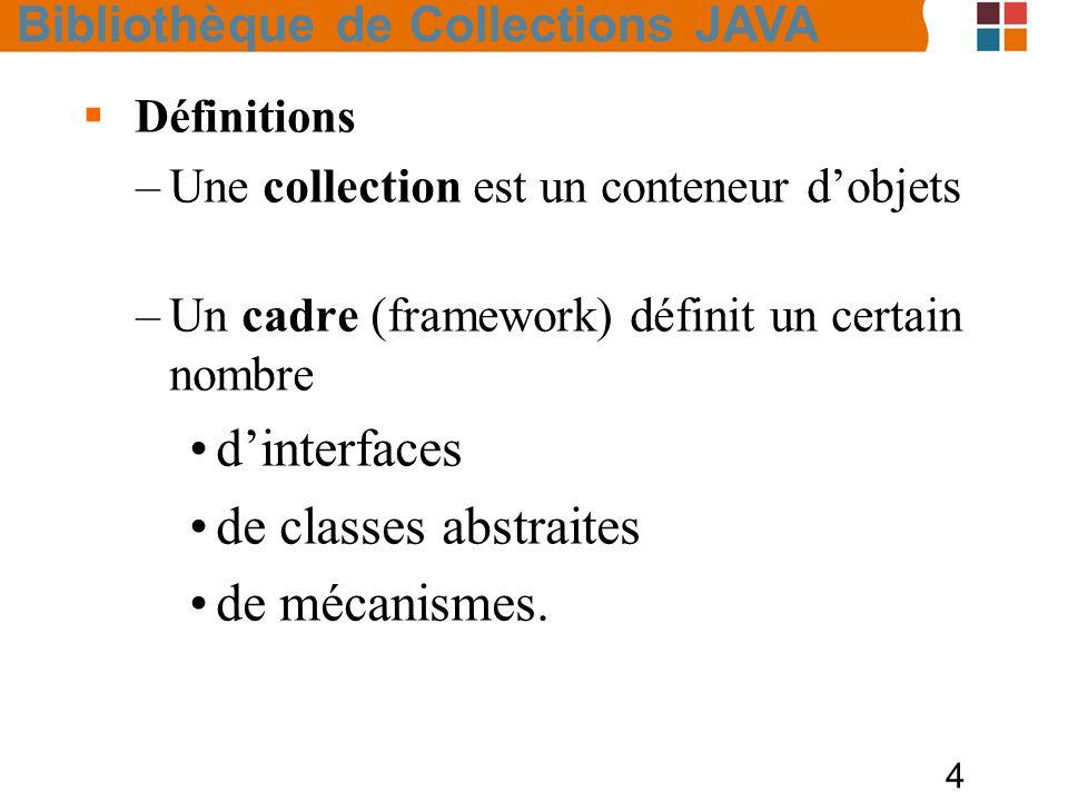 4  Définitions –Une collection est un conteneur d'objets –Un cadre (framework) définit un certain nombre d'interfaces de classes abstraites de mécanismes.