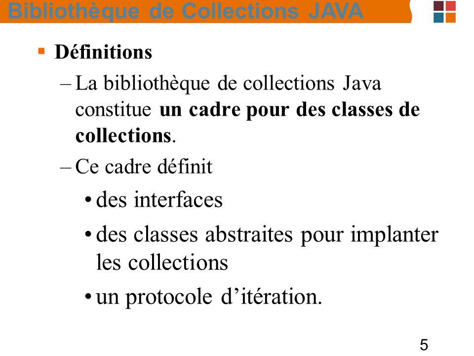 5  Définitions –La bibliothèque de collections Java constitue un cadre pour des classes de collections.