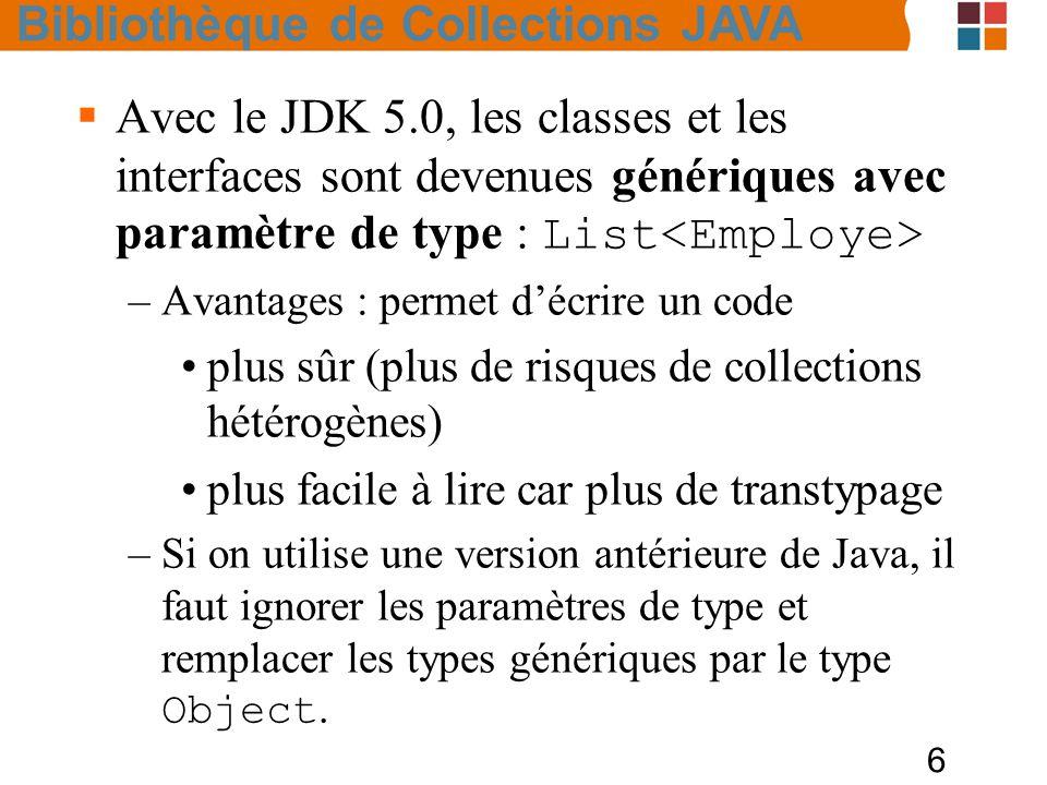 6  Avec le JDK 5.0, les classes et les interfaces sont devenues génériques avec paramètre de type : List –Avantages : permet d'écrire un code plus sûr (plus de risques de collections hétérogènes) plus facile à lire car plus de transtypage –Si on utilise une version antérieure de Java, il faut ignorer les paramètres de type et remplacer les types génériques par le type Object.