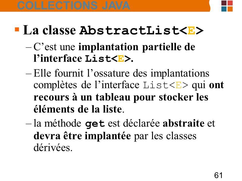 61  La classe AbstractList –C'est une implantation partielle de l'interface List.