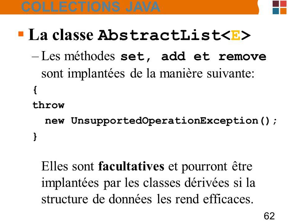 62  La classe AbstractList –Les méthodes set, add et remove sont implantées de la manière suivante: { throw new UnsupportedOperationException(); } Elles sont facultatives et pourront être implantées par les classes dérivées si la structure de données les rend efficaces.