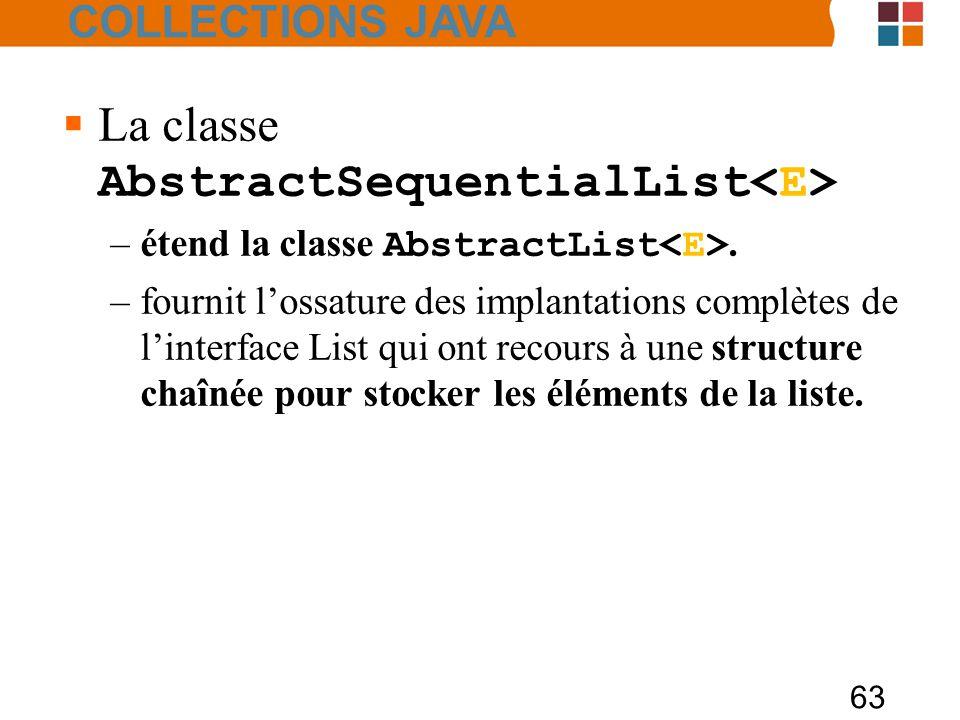 63  La classe AbstractSequentialList –étend la classe AbstractList.