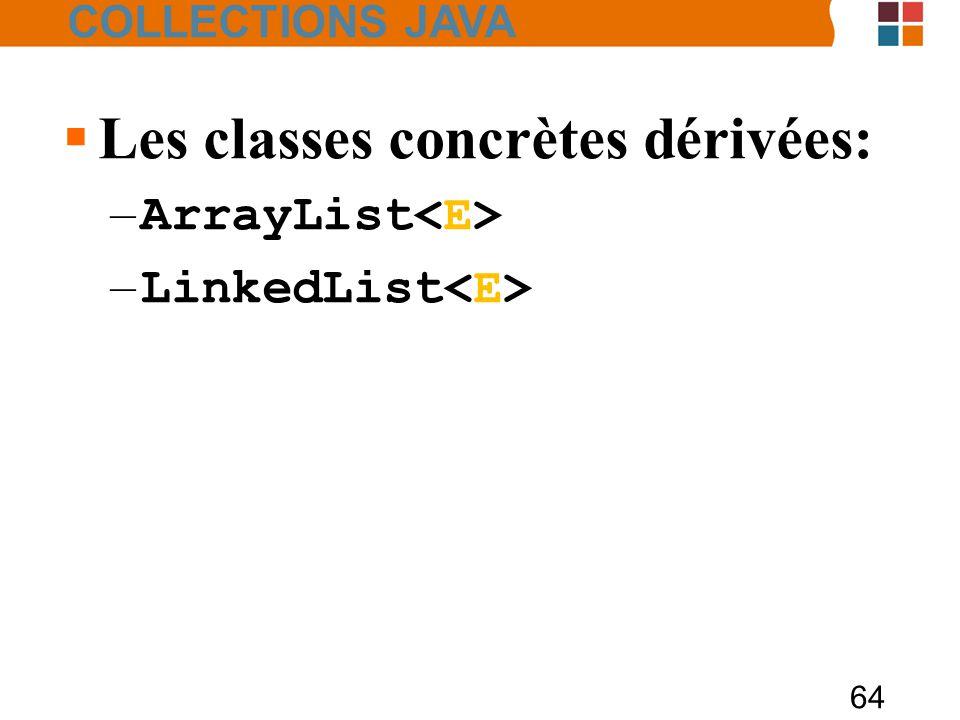 64  Les classes concrètes dérivées: – ArrayList – LinkedList COLLECTIONS JAVA