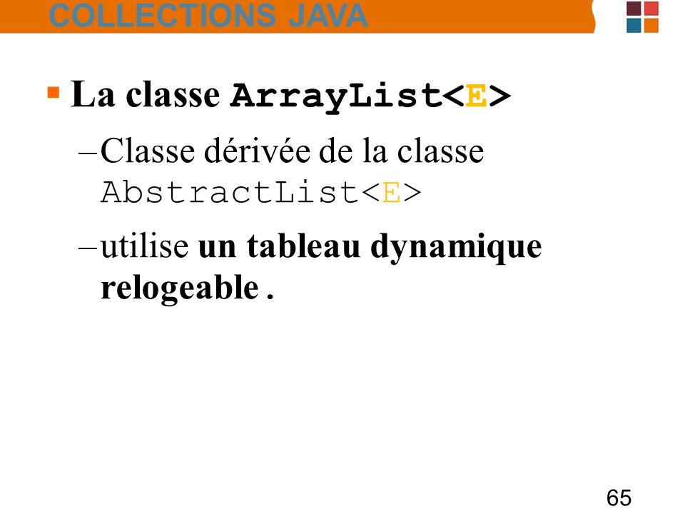 65  La classe ArrayList –Classe dérivée de la classe AbstractList –utilise un tableau dynamique relogeable.