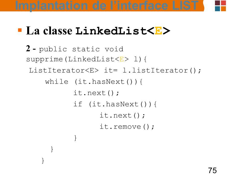 75  La classe LinkedList 2 - public static void supprime(LinkedList l){ ListIterator it= l.listIterator(); while (it.hasNext()){ it.next(); if (it.hasNext()){ it.next(); it.remove(); } } Implantation de l'interface LIST