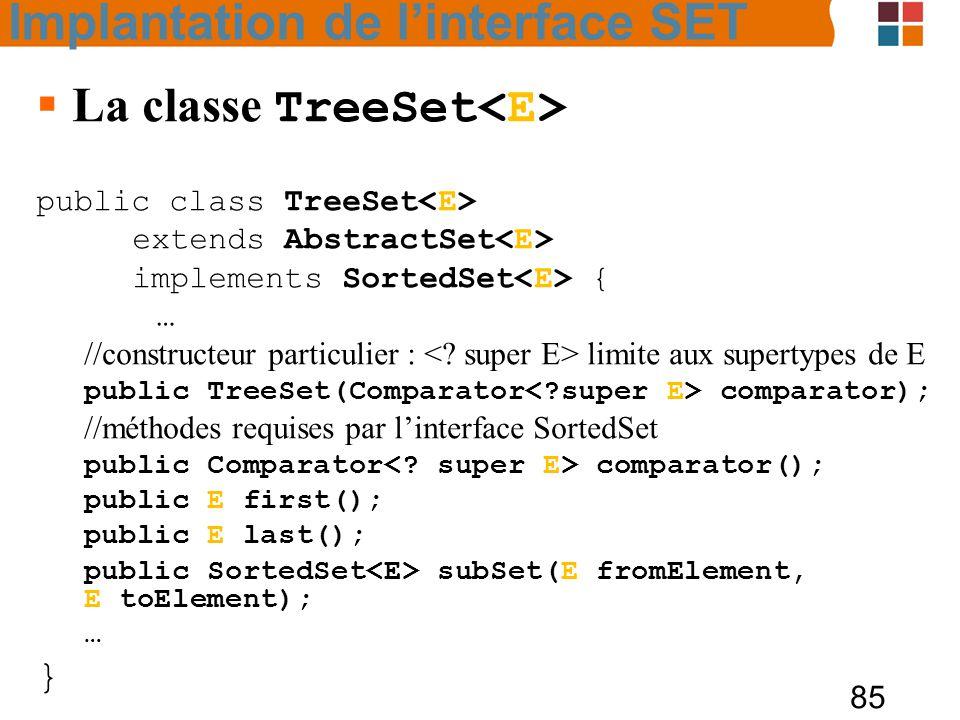 85  La classe TreeSet public class TreeSet extends AbstractSet implements SortedSet { … //constructeur particulier : limite aux supertypes de E public TreeSet(Comparator comparator); //méthodes requises par l'interface SortedSet public Comparator comparator(); public E first(); public E last(); public SortedSet subSet(E fromElement, E toElement); … } Implantation de l'interface SET