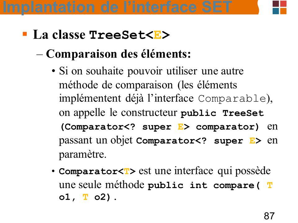 87  La classe TreeSet –Comparaison des éléments: Si on souhaite pouvoir utiliser une autre méthode de comparaison (les éléments implémentent déjà l'interface Comparable ), on appelle le constructeur public TreeSet (Comparator comparator) en passant un objet Comparator en paramètre.