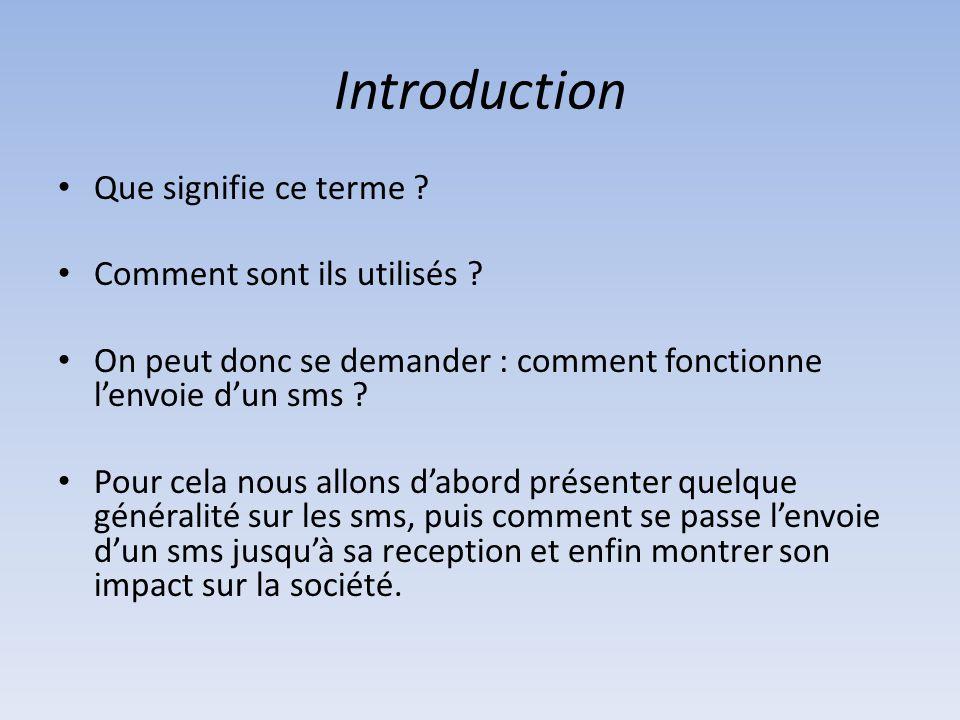 Introduction Que signifie ce terme ? Comment sont ils utilisés ? On peut donc se demander : comment fonctionne l'envoie d'un sms ? Pour cela nous allo