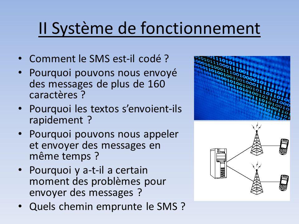 II Système de fonctionnement Comment le SMS est-il codé ? Pourquoi pouvons nous envoyé des messages de plus de 160 caractères ? Pourquoi les textos s'