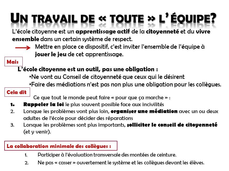 1.Participer à l'évaluation transversale des montées de ceinture. 2.Ne pas « casser » ouvertement le système et les collègues devant les élèves. L'éco