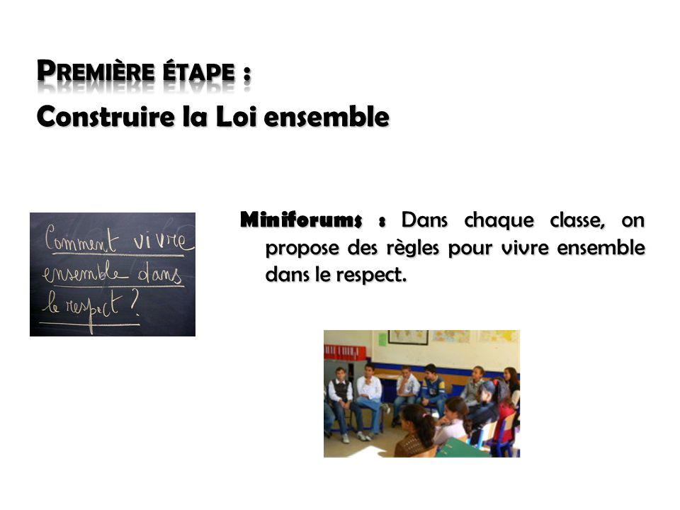 Miniforums : Dans chaque classe, on propose des règles pour vivre ensemble dans le respect.