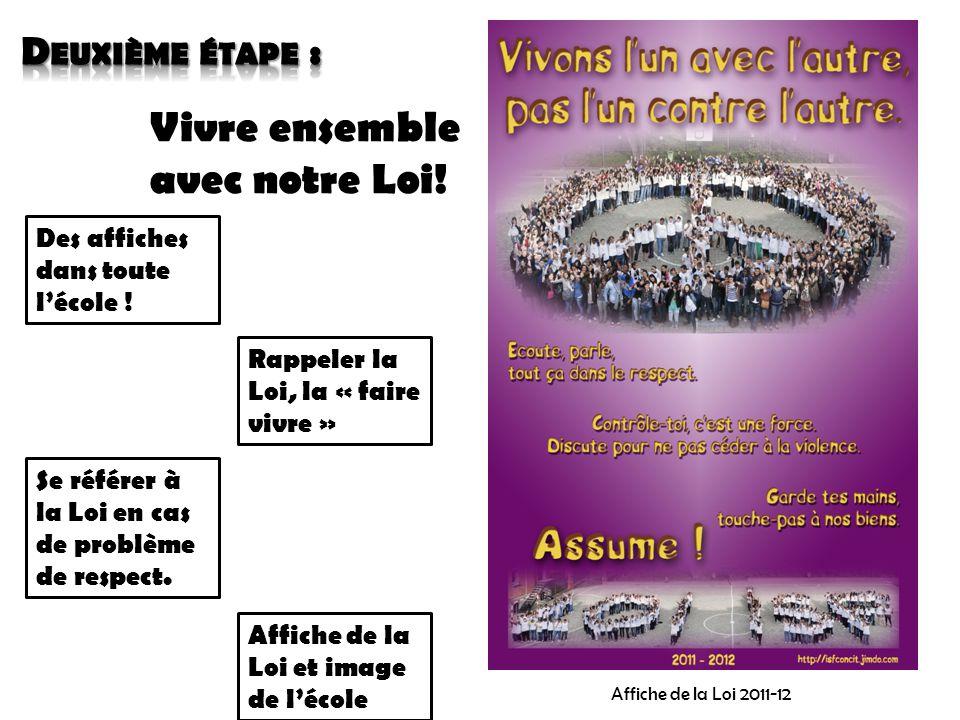 Vivre ensemble avec notre Loi! Affiche de la Loi 2011-12 Des affiches dans toute l'école ! Rappeler la Loi, la « faire vivre » Se référer à la Loi en