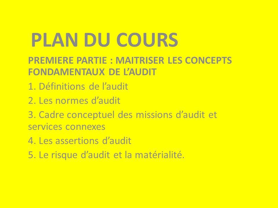 PLAN DU COURS PREMIERE PARTIE : MAITRISER LES CONCEPTS FONDAMENTAUX DE L'AUDIT 1.