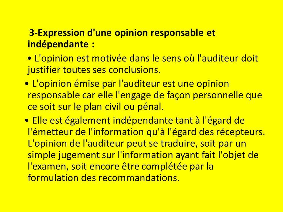 3-Expression d une opinion responsable et indépendante : L opinion est motivée dans le sens où l auditeur doit justifier toutes ses conclusions.