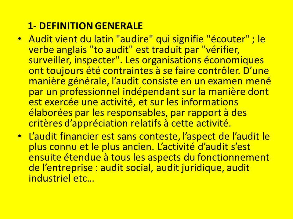 1- DEFINITION GENERALE Audit vient du latin audire qui signifie écouter ; le verbe anglais to audit est traduit par vérifier, surveiller, inspecter .