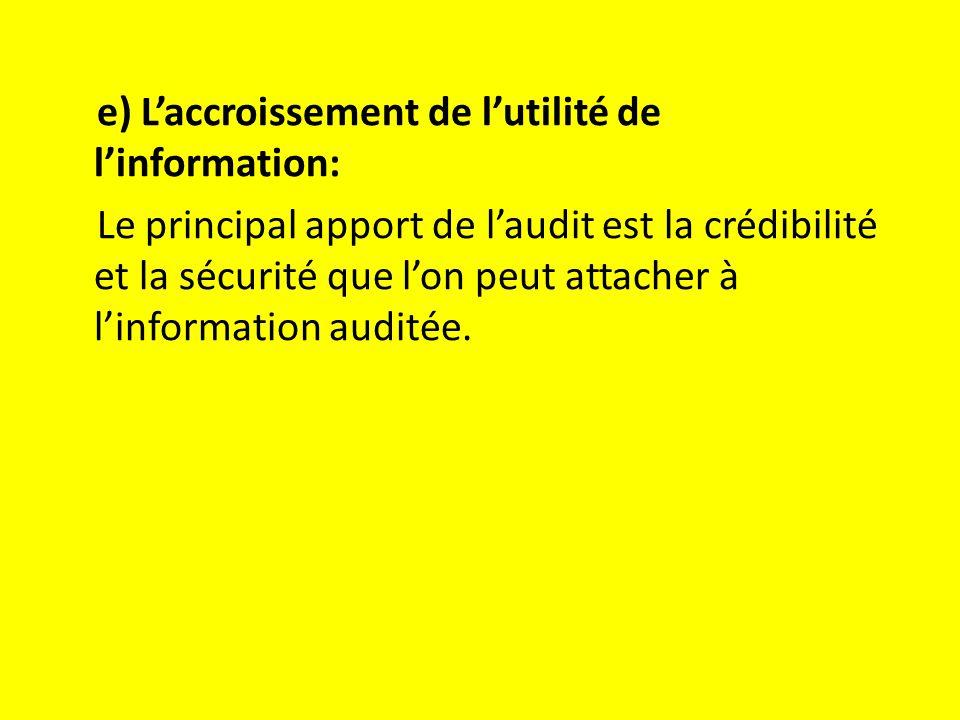 e) L'accroissement de l'utilité de l'information: Le principal apport de l'audit est la crédibilité et la sécurité que l'on peut attacher à l'information auditée.