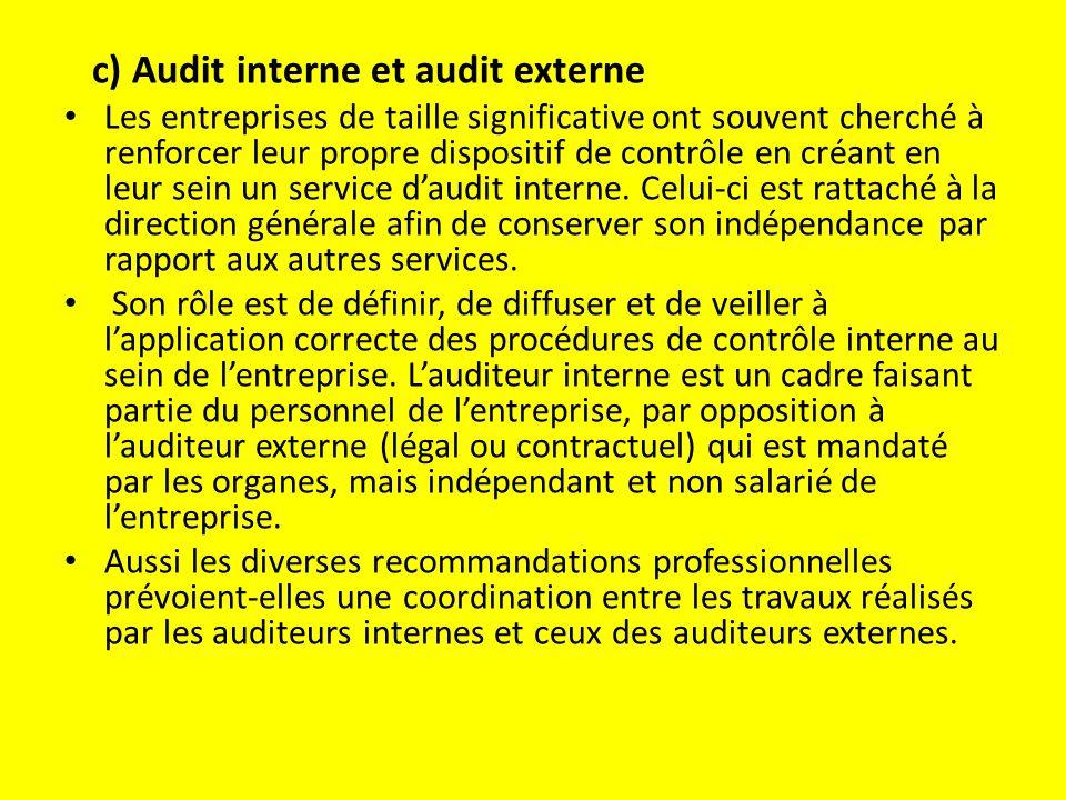 c) Audit interne et audit externe Les entreprises de taille significative ont souvent cherché à renforcer leur propre dispositif de contrôle en créant en leur sein un service d'audit interne.