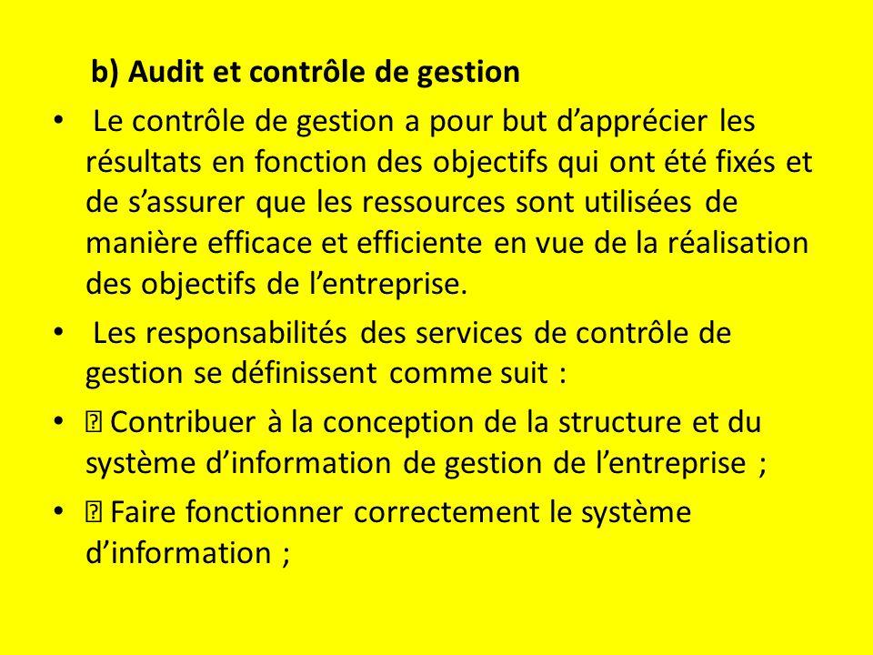 b) Audit et contrôle de gestion Le contrôle de gestion a pour but d'apprécier les résultats en fonction des objectifs qui ont été fixés et de s'assurer que les ressources sont utilisées de manière efficace et efficiente en vue de la réalisation des objectifs de l'entreprise.