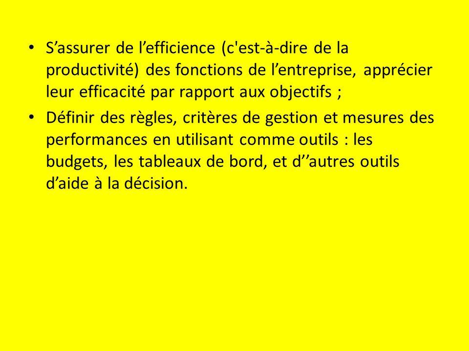 S'assurer de l'efficience (c est-à-dire de la productivité) des fonctions de l'entreprise, apprécier leur efficacité par rapport aux objectifs ; Définir des règles, critères de gestion et mesures des performances en utilisant comme outils : les budgets, les tableaux de bord, et d''autres outils d'aide à la décision.
