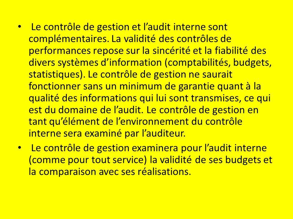 Le contrôle de gestion et l'audit interne sont complémentaires.