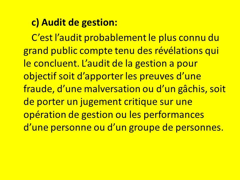 c) Audit de gestion: C'est l'audit probablement le plus connu du grand public compte tenu des révélations qui le concluent.