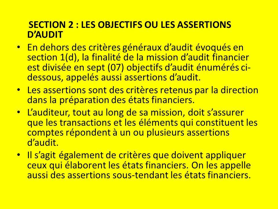 SECTION 2 : LES OBJECTIFS OU LES ASSERTIONS D'AUDIT En dehors des critères généraux d'audit évoqués en section 1(d), la finalité de la mission d'audit financier est divisée en sept (07) objectifs d'audit énumérés ci- dessous, appelés aussi assertions d'audit.