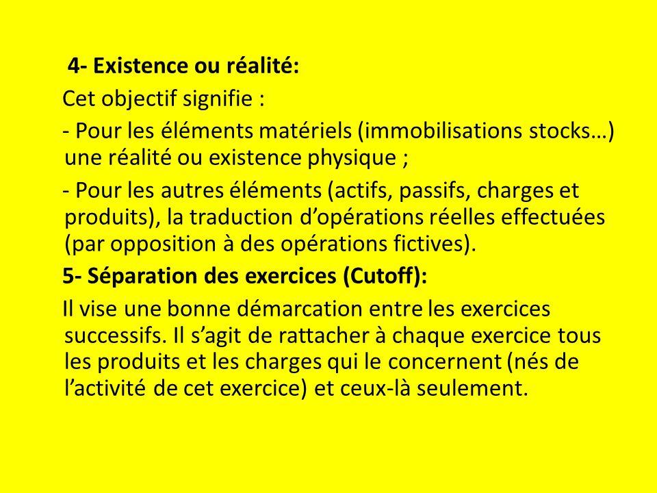 4- Existence ou réalité: Cet objectif signifie : - Pour les éléments matériels (immobilisations stocks…) une réalité ou existence physique ; - Pour les autres éléments (actifs, passifs, charges et produits), la traduction d'opérations réelles effectuées (par opposition à des opérations fictives).