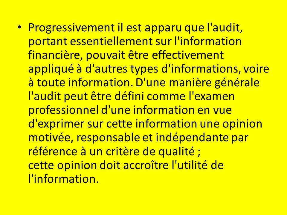 Progressivement il est apparu que l audit, portant essentiellement sur l information financière, pouvait être effectivement appliqué à d autres types d informations, voire à toute information.