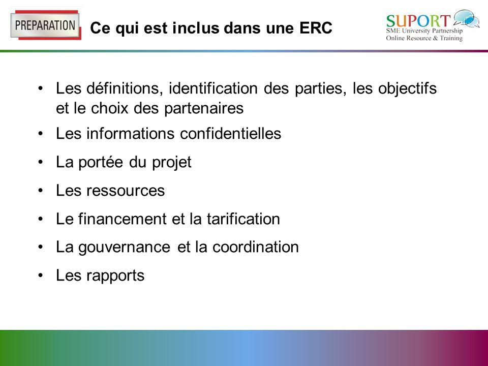Ce qui est inclus dans une ERC Les définitions, identification des parties, les objectifs et le choix des partenaires Les informations confidentielles La portée du projet Les ressources Le financement et la tarification La gouvernance et la coordination Les rapports