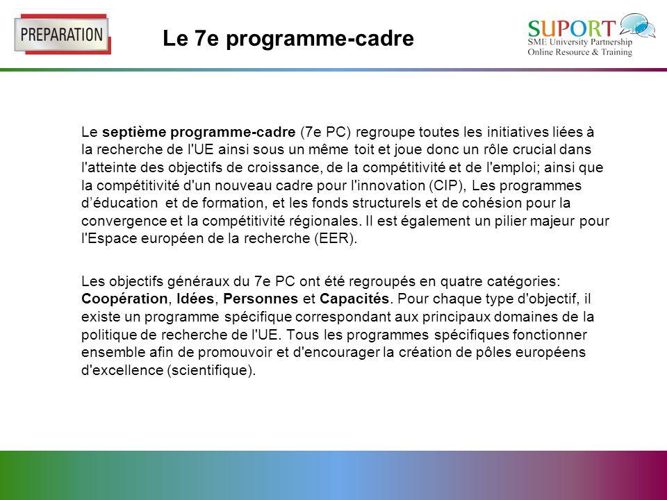 Le 7e programme-cadre Le septième programme-cadre (7e PC) regroupe toutes les initiatives liées à la recherche de l UE ainsi sous un même toit et joue donc un rôle crucial dans l atteinte des objectifs de croissance, de la compétitivité et de l emploi; ainsi que la compétitivité d un nouveau cadre pour l innovation (CIP), Les programmes d'éducation et de formation, et les fonds structurels et de cohésion pour la convergence et la compétitivité régionales.