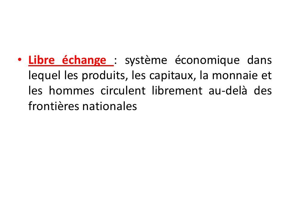 Libre échange : système économique dans lequel les produits, les capitaux, la monnaie et les hommes circulent librement au-delà des frontières nationa