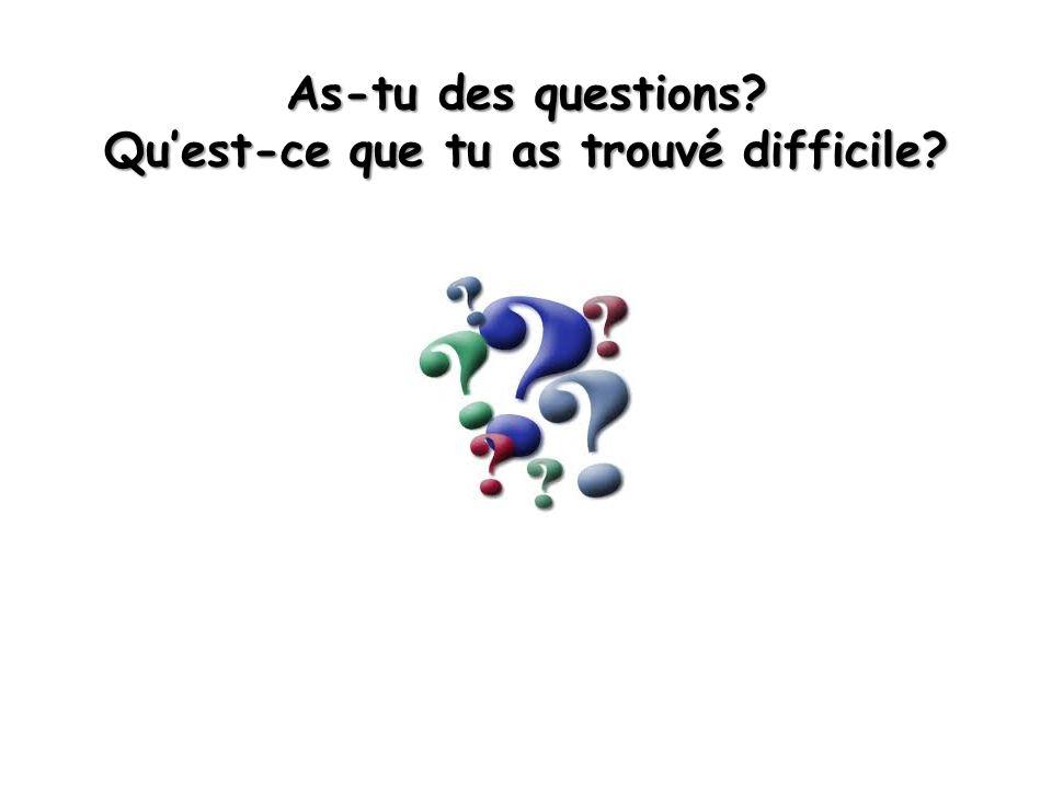As-tu des questions? Qu'est-ce que tu as trouvé difficile?