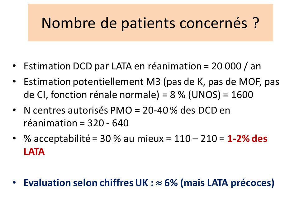 Nombre de patients concernés ? Estimation DCD par LATA en réanimation = 20 000 / an Estimation potentiellement M3 (pas de K, pas de MOF, pas de CI, fo