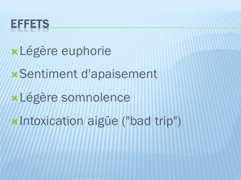  Légère euphorie  Sentiment d apaisement  Légère somnolence  Intoxication aigüe ( bad trip )