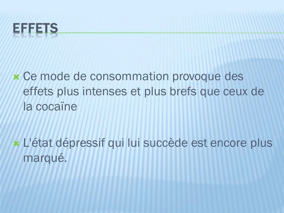  Ce mode de consommation provoque des effets plus intenses et plus brefs que ceux de la cocaïne  L état dépressif qui lui succède est encore plus marqué.
