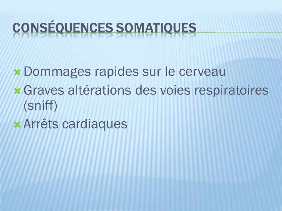  Dommages rapides sur le cerveau  Graves altérations des voies respiratoires (sniff)  Arrêts cardiaques