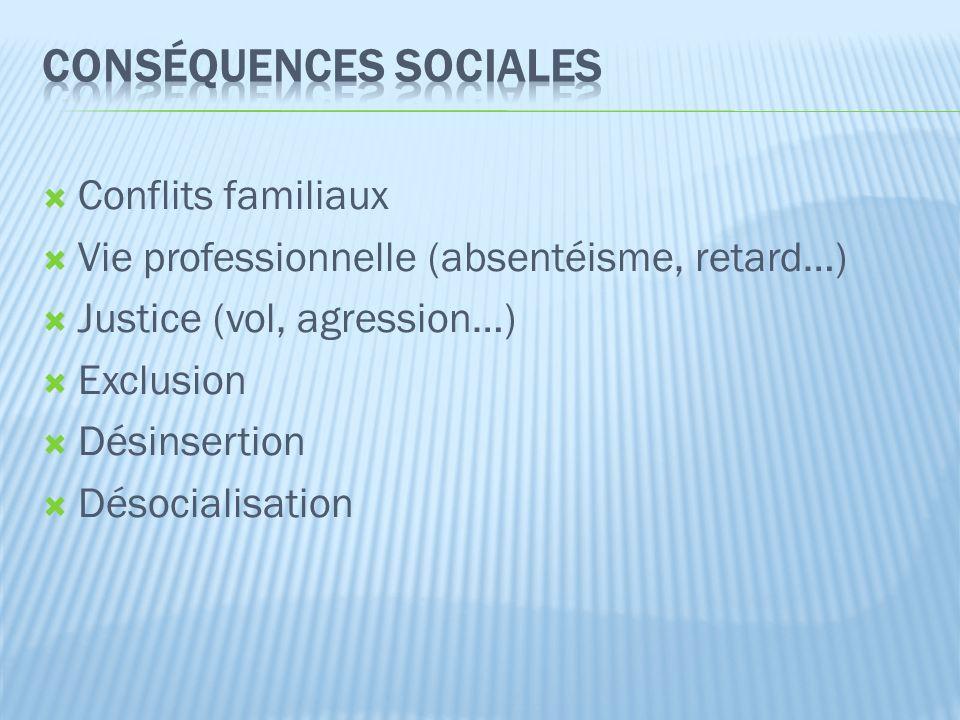  Conflits familiaux  Vie professionnelle (absentéisme, retard…)  Justice (vol, agression…)  Exclusion  Désinsertion  Désocialisation