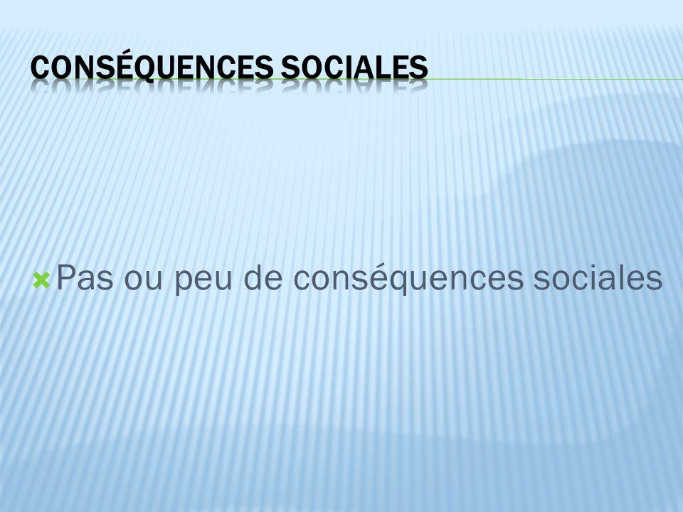  Pas ou peu de conséquences sociales