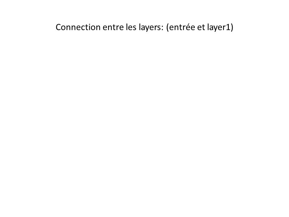 Connection entre les layers: (entrée et layer1)