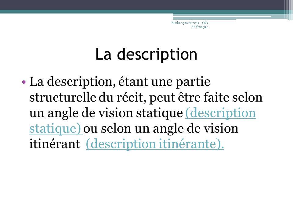 La description La description, étant une partie structurelle du récit, peut être faite selon un angle de vision statique (description statique) ou sel