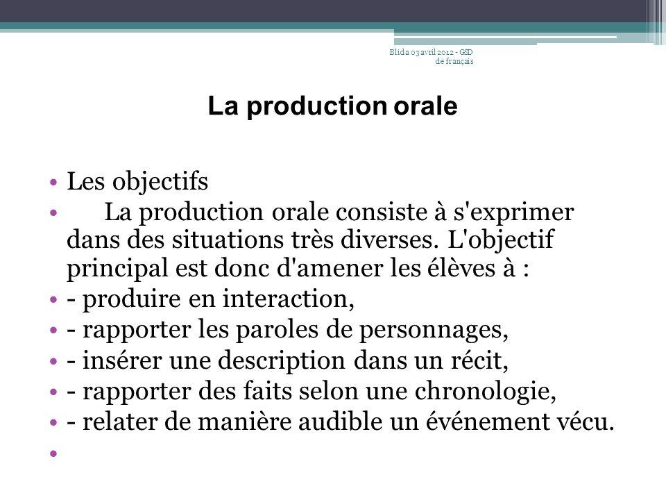 La production orale Les objectifs La production orale consiste à s'exprimer dans des situations très diverses. L'objectif principal est donc d'amener