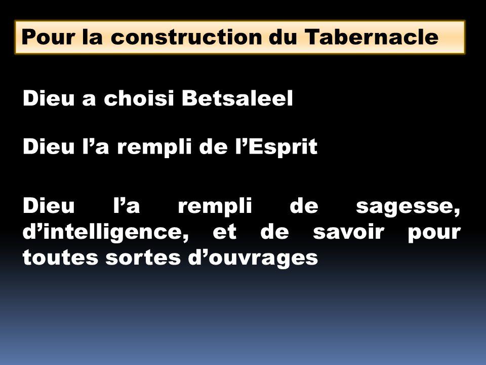 Pour la construction du Tabernacle Dieu a choisi Betsaleel Dieu l'a rempli de l'Esprit Dieu l'a rempli de sagesse, d'intelligence, et de savoir pour toutes sortes d'ouvrages