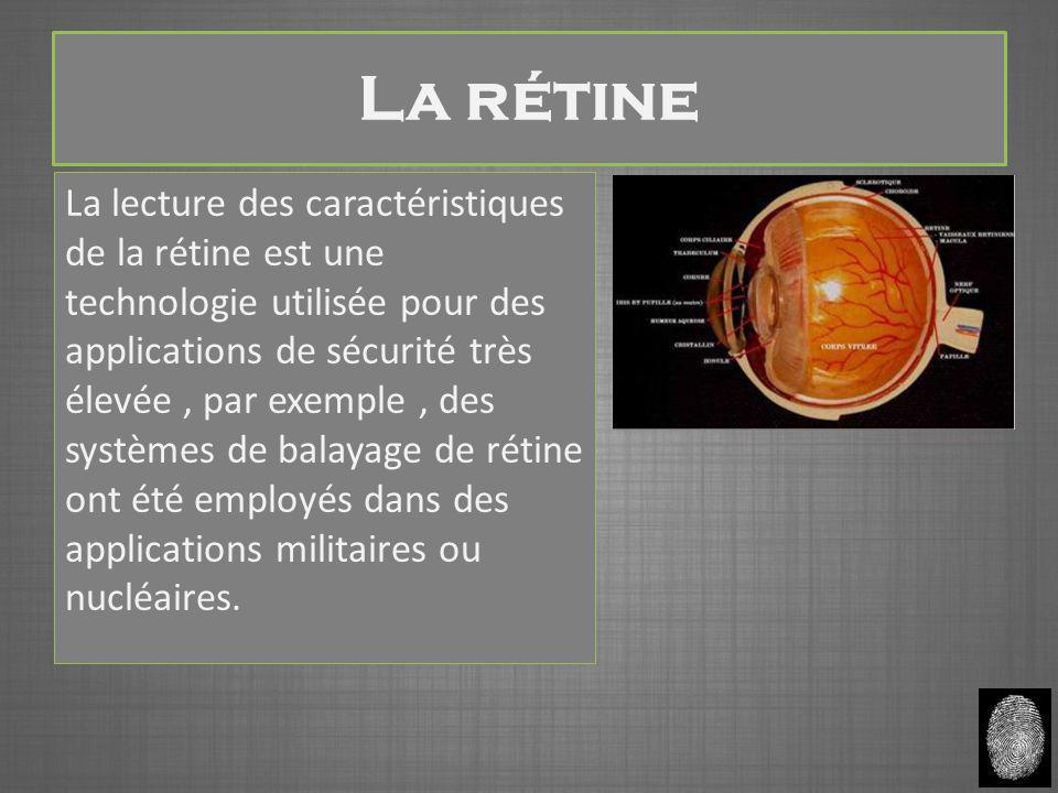 La rétine La lecture des caractéristiques de la rétine est une technologie utilisée pour des applications de sécurité très élevée, par exemple, des systèmes de balayage de rétine ont été employés dans des applications militaires ou nucléaires.