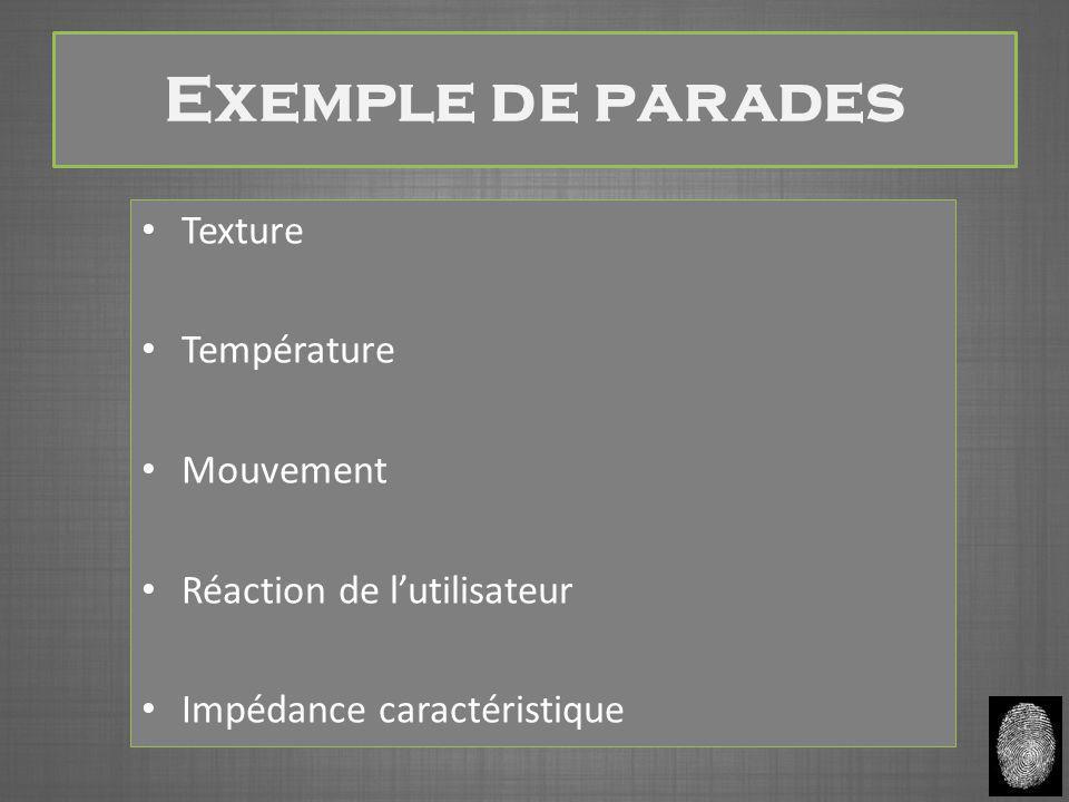 Exemple de parades Texture Température Mouvement Réaction de l'utilisateur Impédance caractéristique