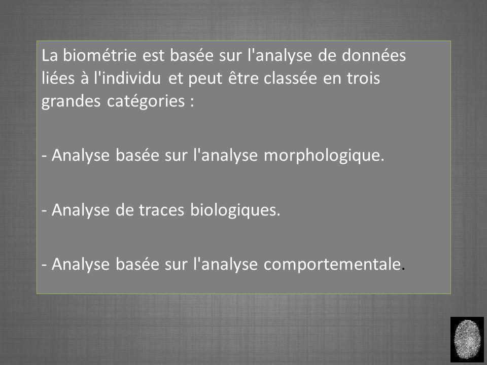 La biométrie est basée sur l'analyse de données liées à l'individu et peut être classée en trois grandes catégories : - Analyse basée sur l'analyse mo
