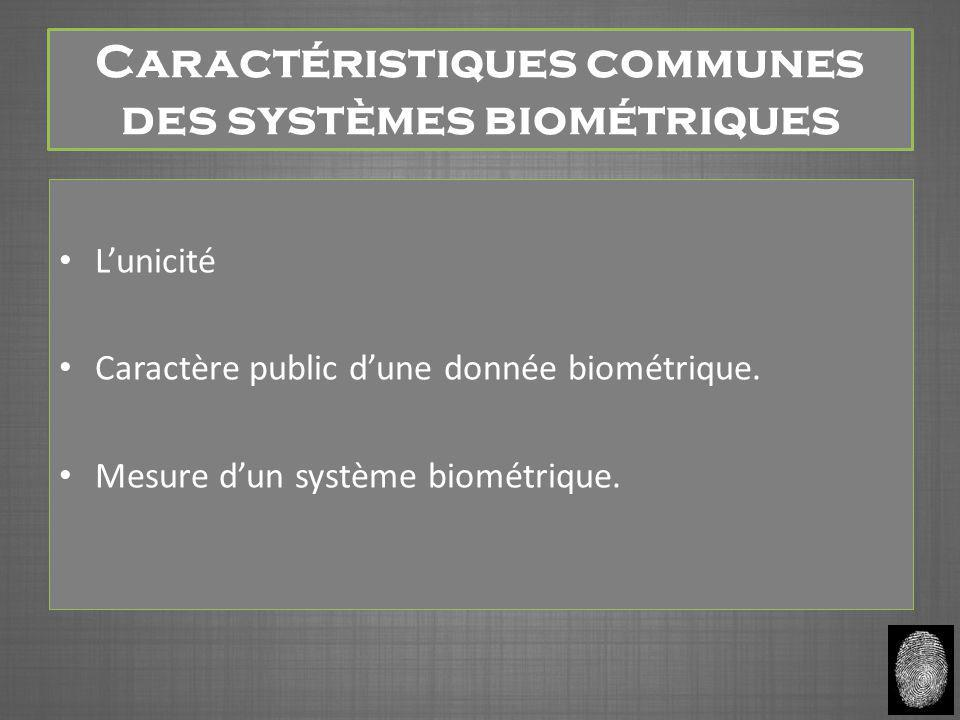 Caractéristiques communes des systèmes biométriques L'unicité Caractère public d'une donnée biométrique. Mesure d'un système biométrique.