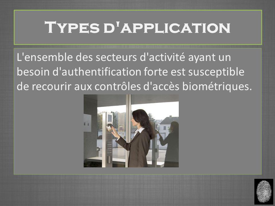 Types d'application L'ensemble des secteurs d'activité ayant un besoin d'authentification forte est susceptible de recourir aux contrôles d'accès biom