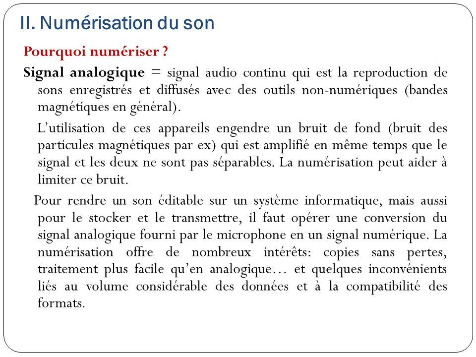 II. Numérisation du son Pourquoi numériser ? Signal analogique = signal audio continu qui est la reproduction de sons enregistrés et diffusés avec des