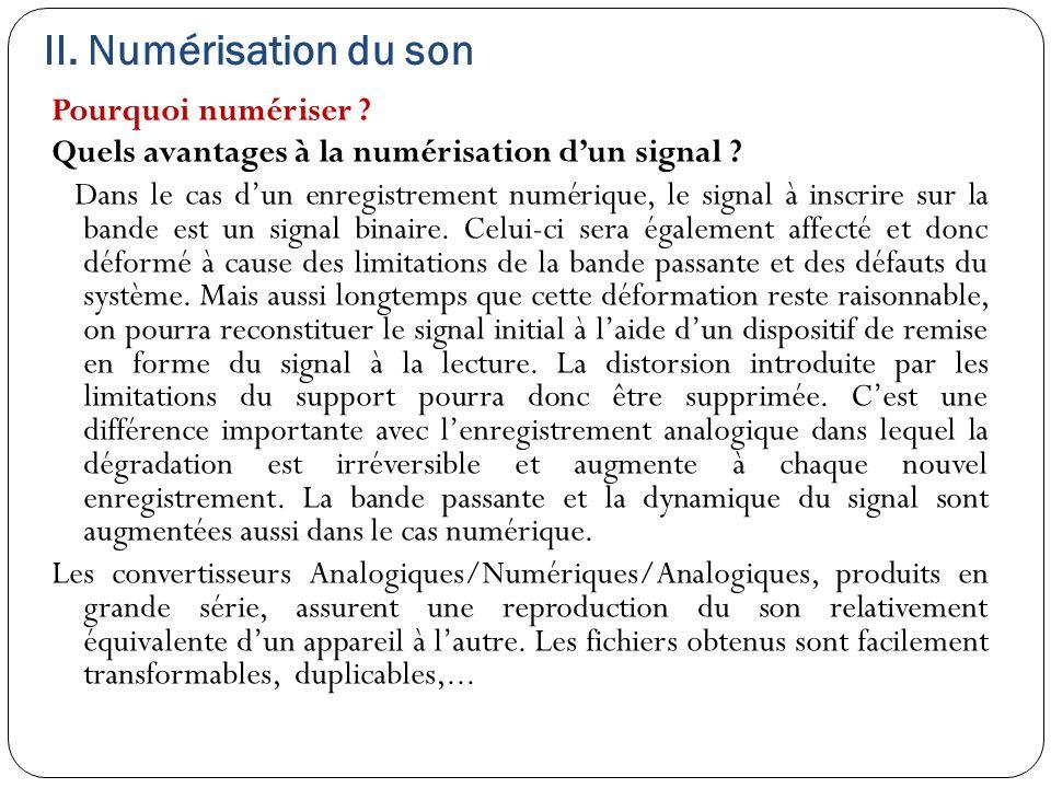 II. Numérisation du son Pourquoi numériser ? Quels avantages à la numérisation d'un signal ? Dans le cas d'un enregistrement numérique, le signal à in