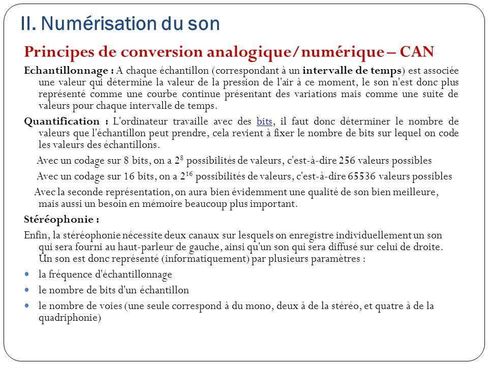 II. Numérisation du son Principes de conversion analogique/numérique – CAN Echantillonnage : A chaque échantillon (correspondant à un intervalle de te